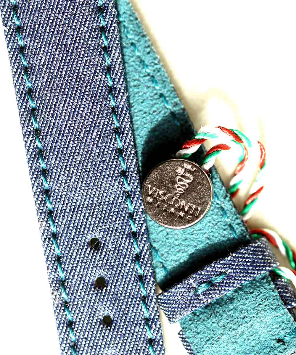 Denim strap General style 22mm / Indigo Green Alcantara lining with SS buckle
