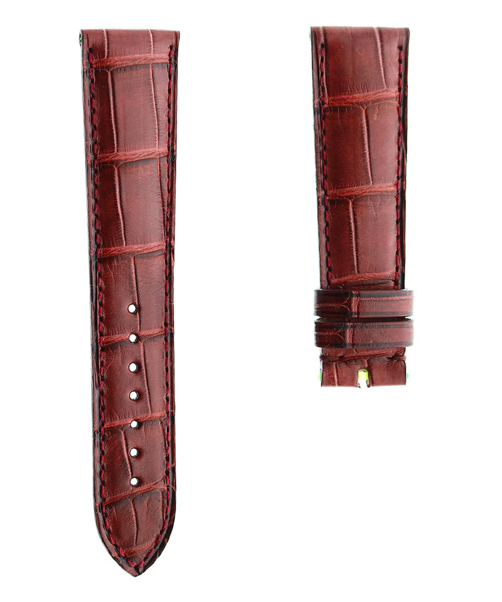 Custom made Bordeaux Alligator leather strap. By Order