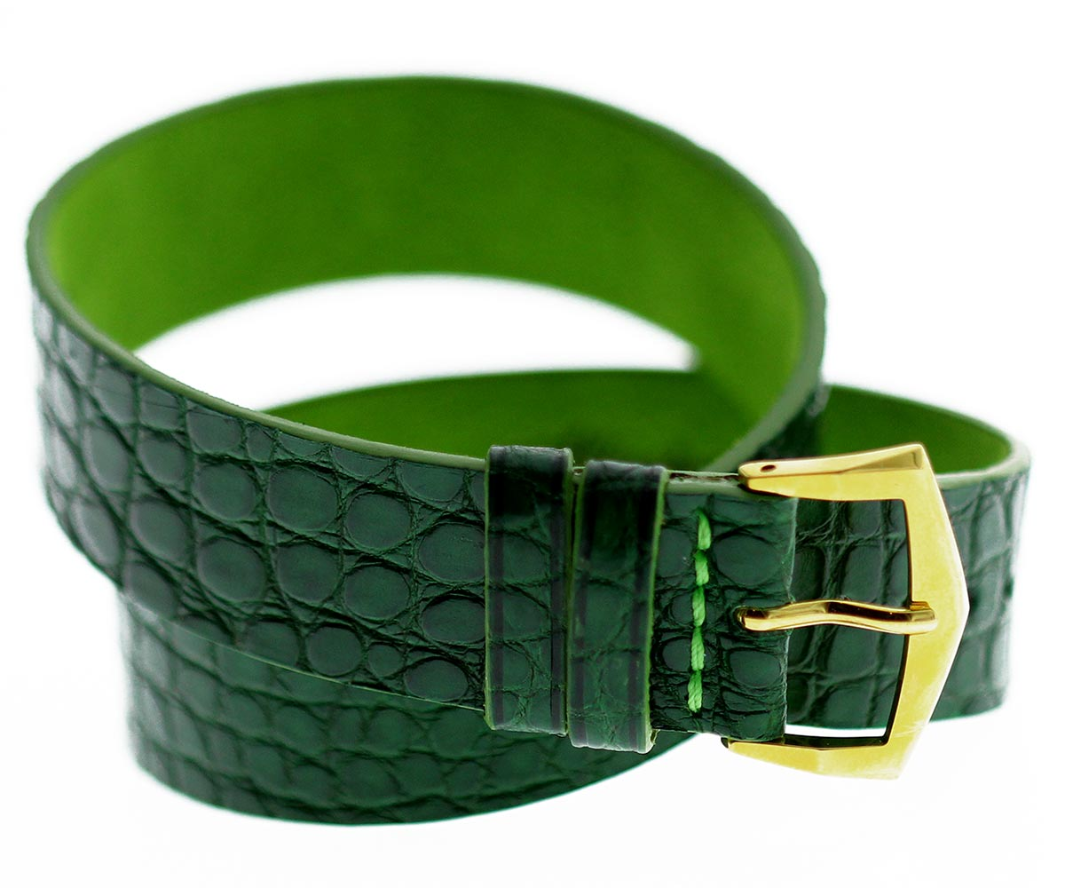 Exclusive Double tour wrist bracelet in Emerald Green Alligator leather