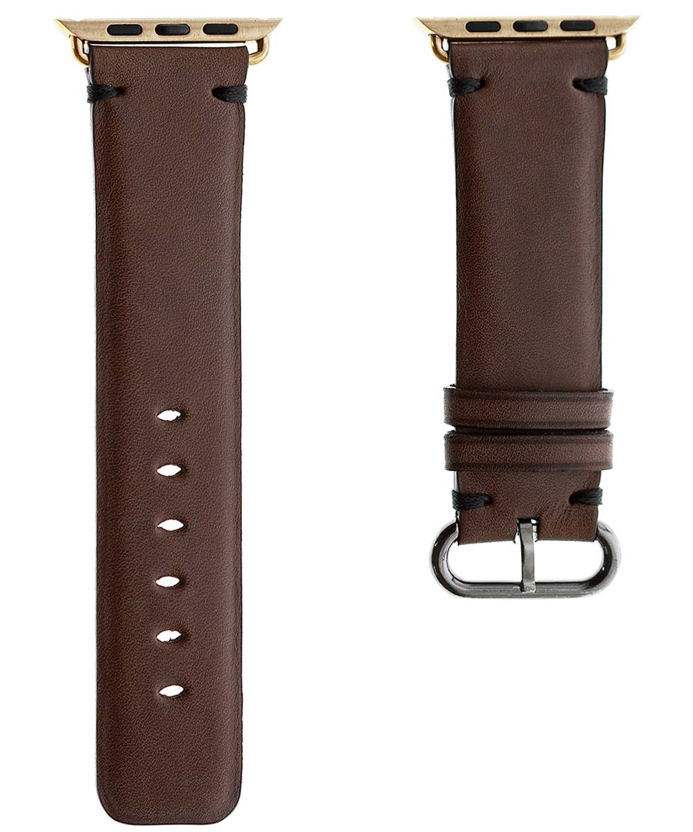 Brown strap for 44mm, 42mm case (Apple Watch All Series) in Barenia / Luxury Hermes French calf leather