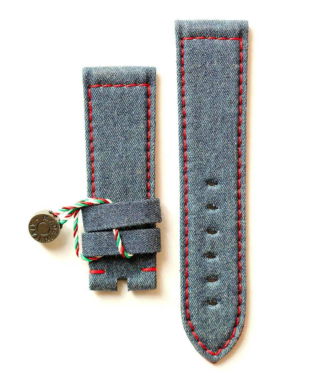 Denim strap Panerai style 24mm / Ruby Red Lining & Stitching