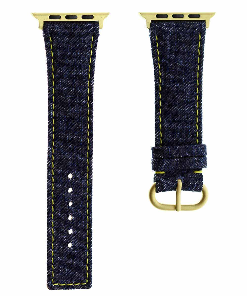 Japanese Denim Strap for 44mm, 42mm case (Apple Watch All Series) / COMMANDO / YELLOW STITCHING