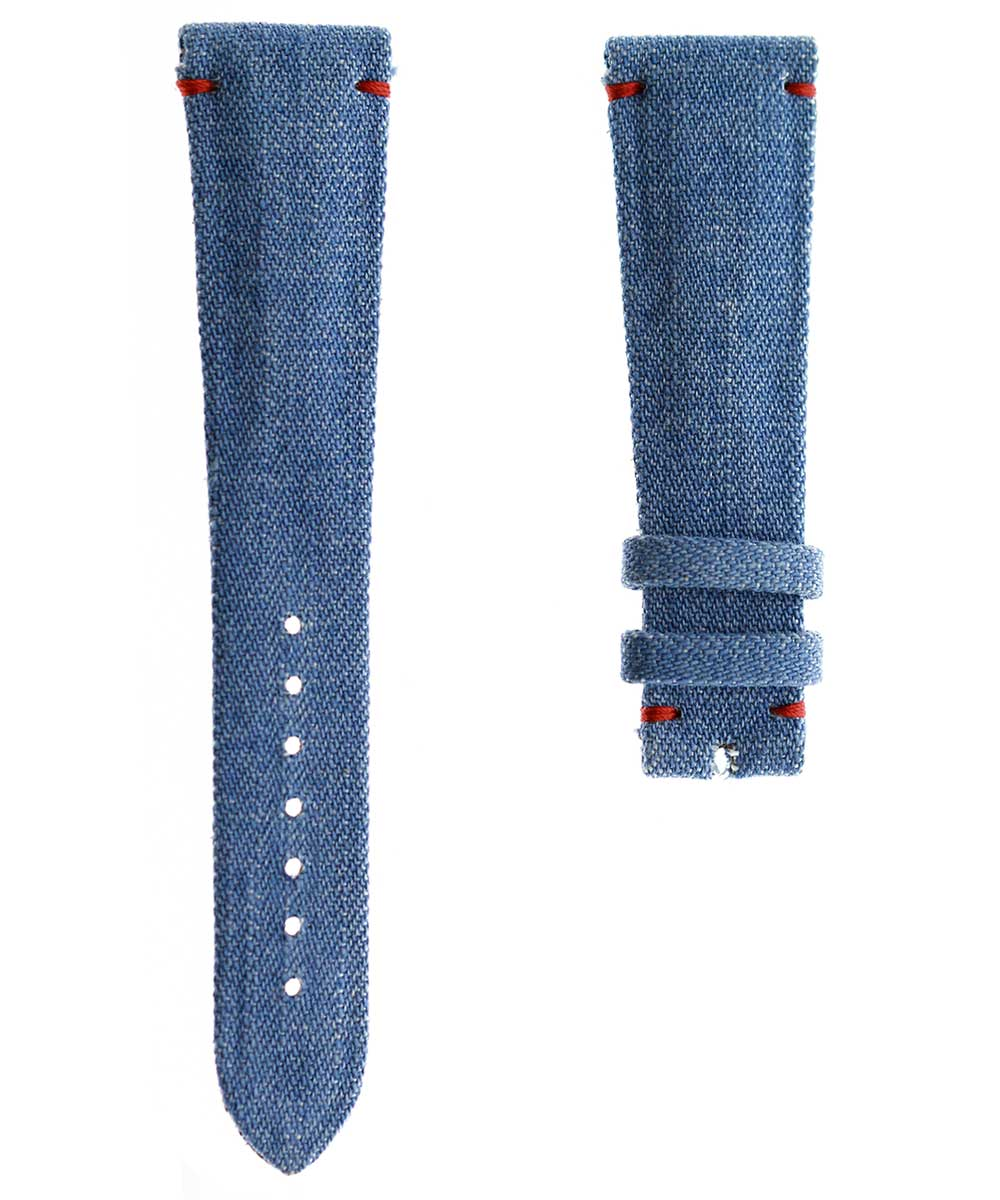 Japanese Denim Watch strap 21mm / Patek Philippe style / Red Stitching