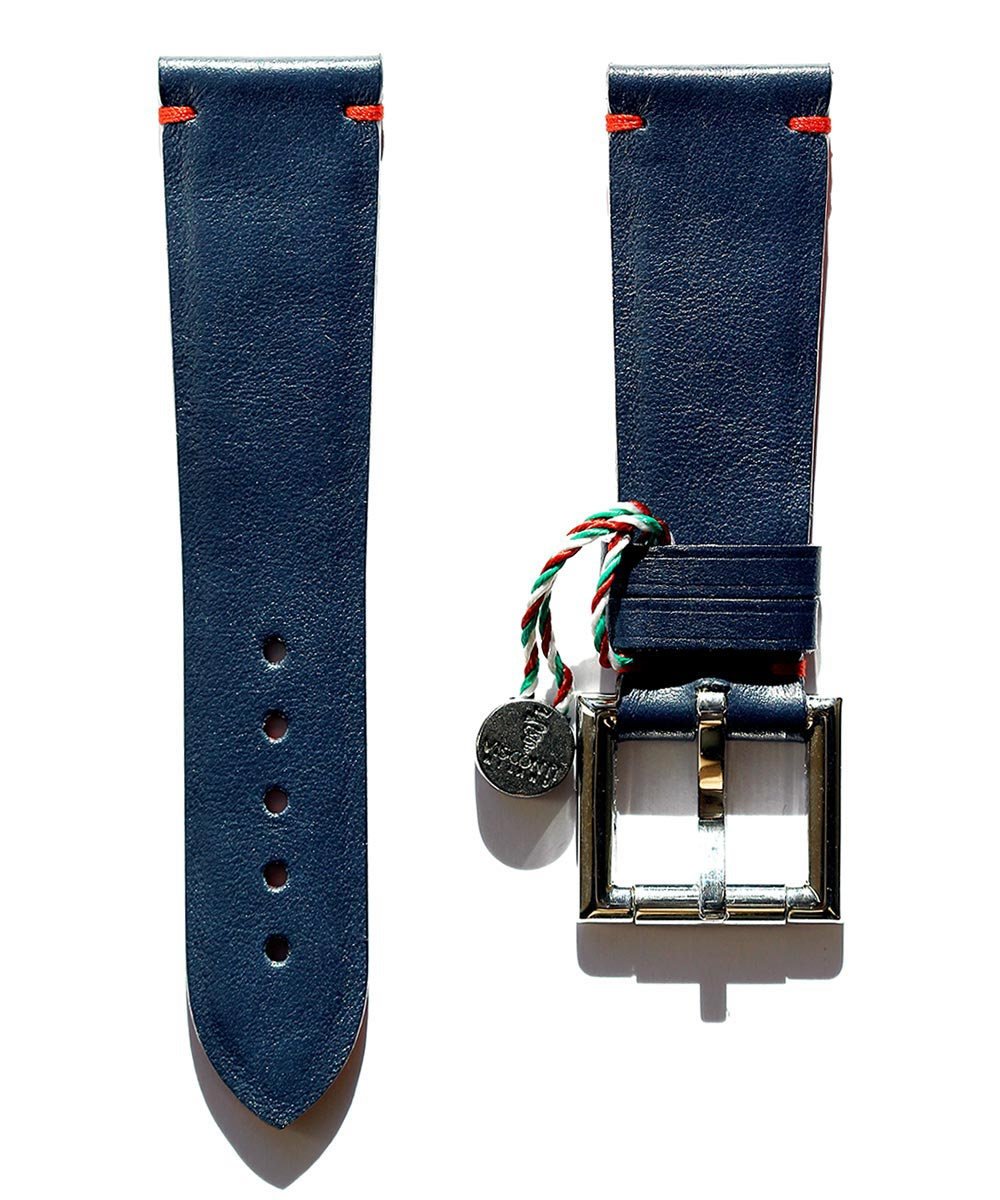 Strap 24mm in Blue Calf Leather with Fixed Buckle