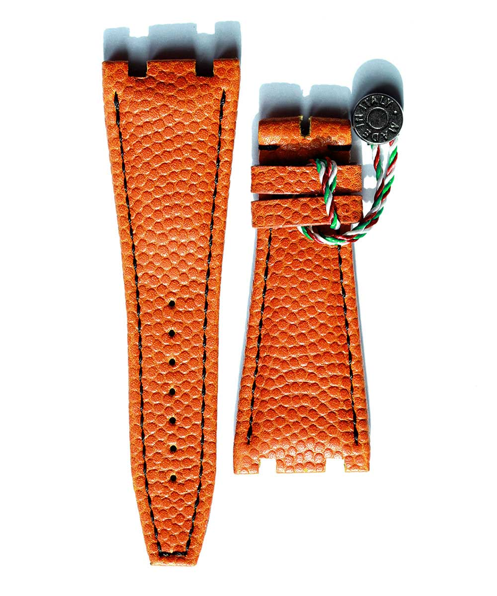 Orange Rugby leather Audemars Piguet style strap 28mm