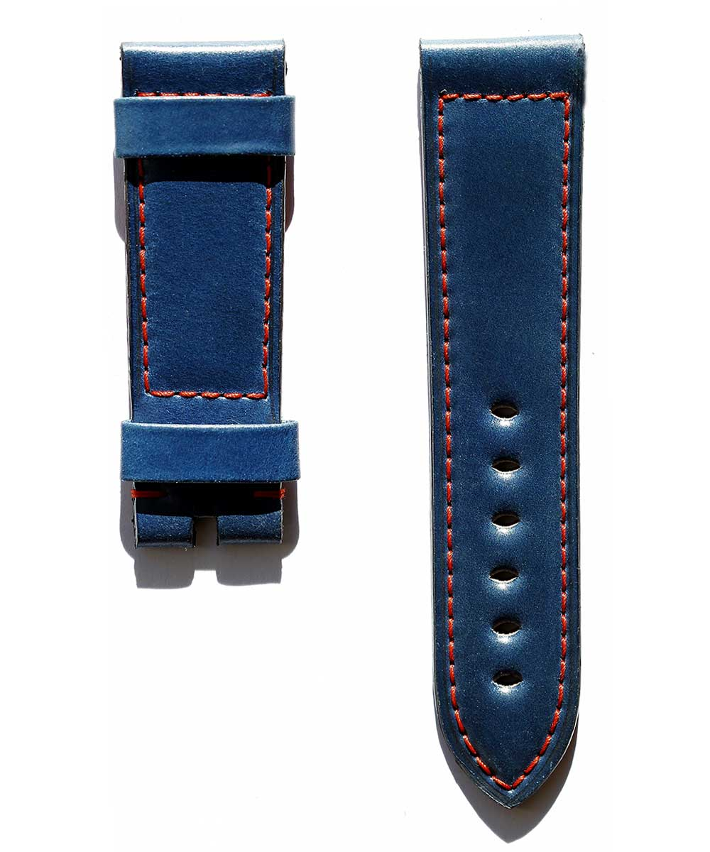 Blue Horween Shell Cordovan Panerai style watch strap 24mm