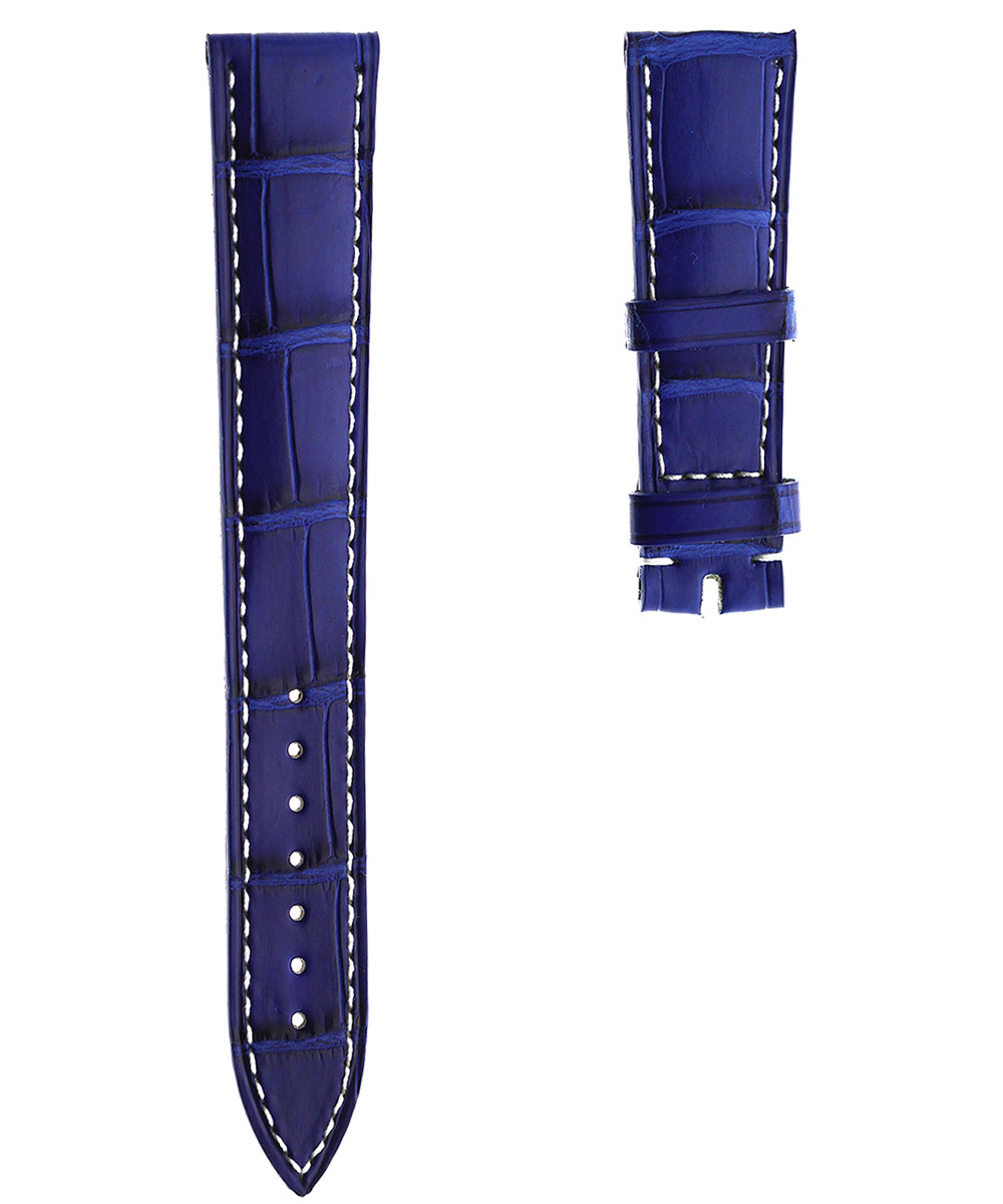 Ulysse Nardin Dual Time custom strap19mm in Blue Lapis Alligator