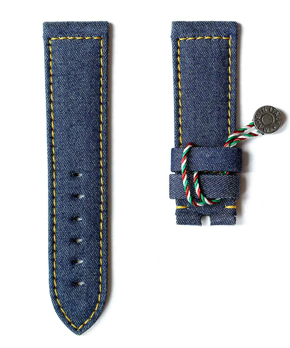 Blue Denim Panerai style strap 22mm / Lemon Yellow stitching