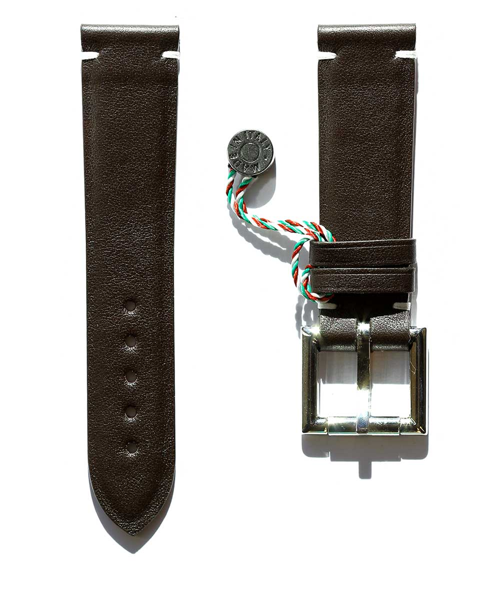 Brown Calf leather strap 22mm with Fixed Buckle