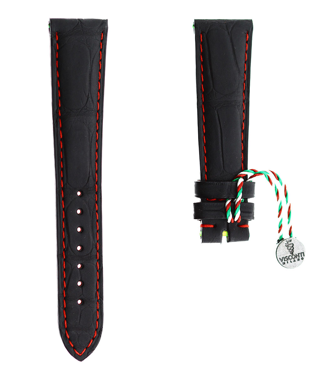 Black Rubberized Alligator leather strap 20mm, 18mm / Red Stitching