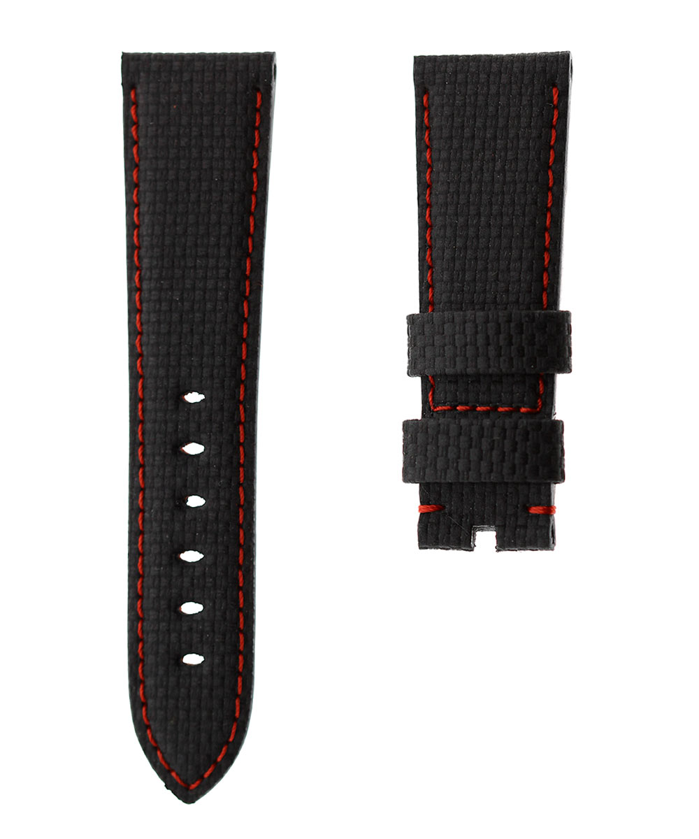 Carbon fiber printed black leather strap 24mm PANERAI style. Red Stitching