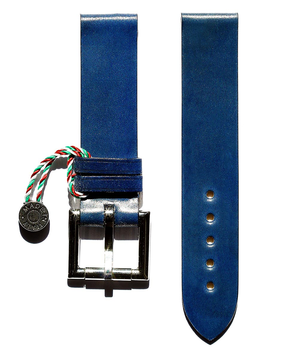Strap 20mm in Blue Shell Cordovan Leather with Fixed Buckle