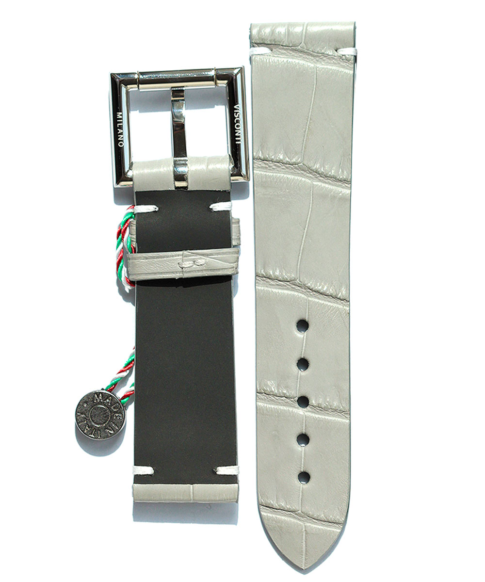 Grey Alligator Leather Strap 22mm with Fixed Buckle