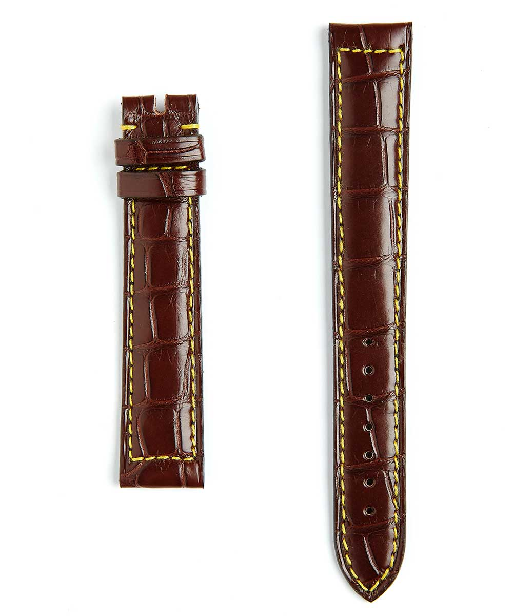 Custom made General style strap in Matte Brown Alligator
