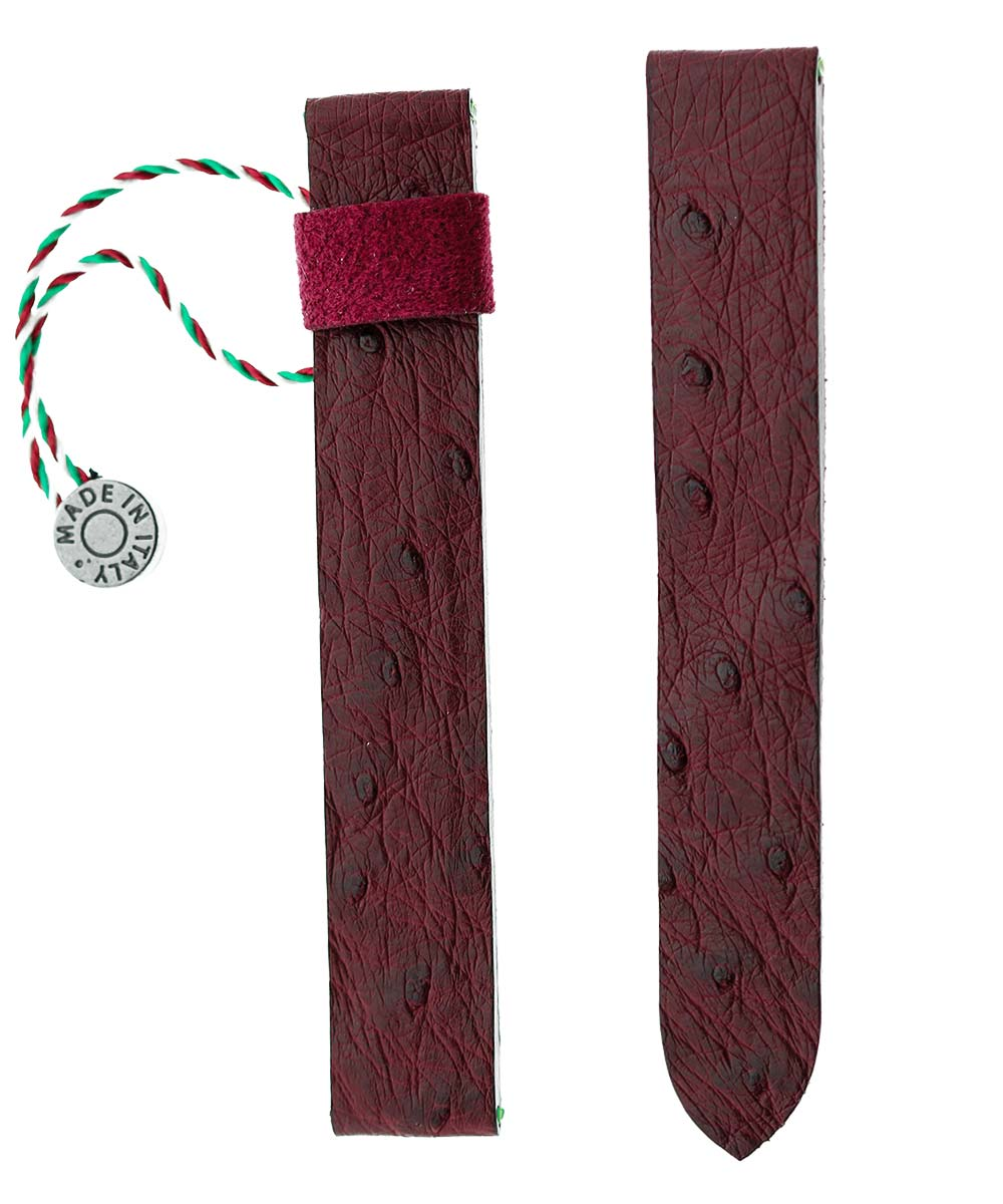 Watch strap 16mm in Bordeaux Ostrich leather for Cartier Tank style clasp