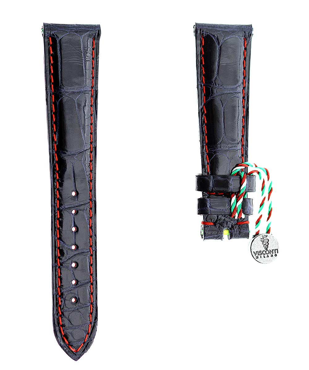 Blue Petrol Shiny Alligator leather strap 20mm / Red Stitching