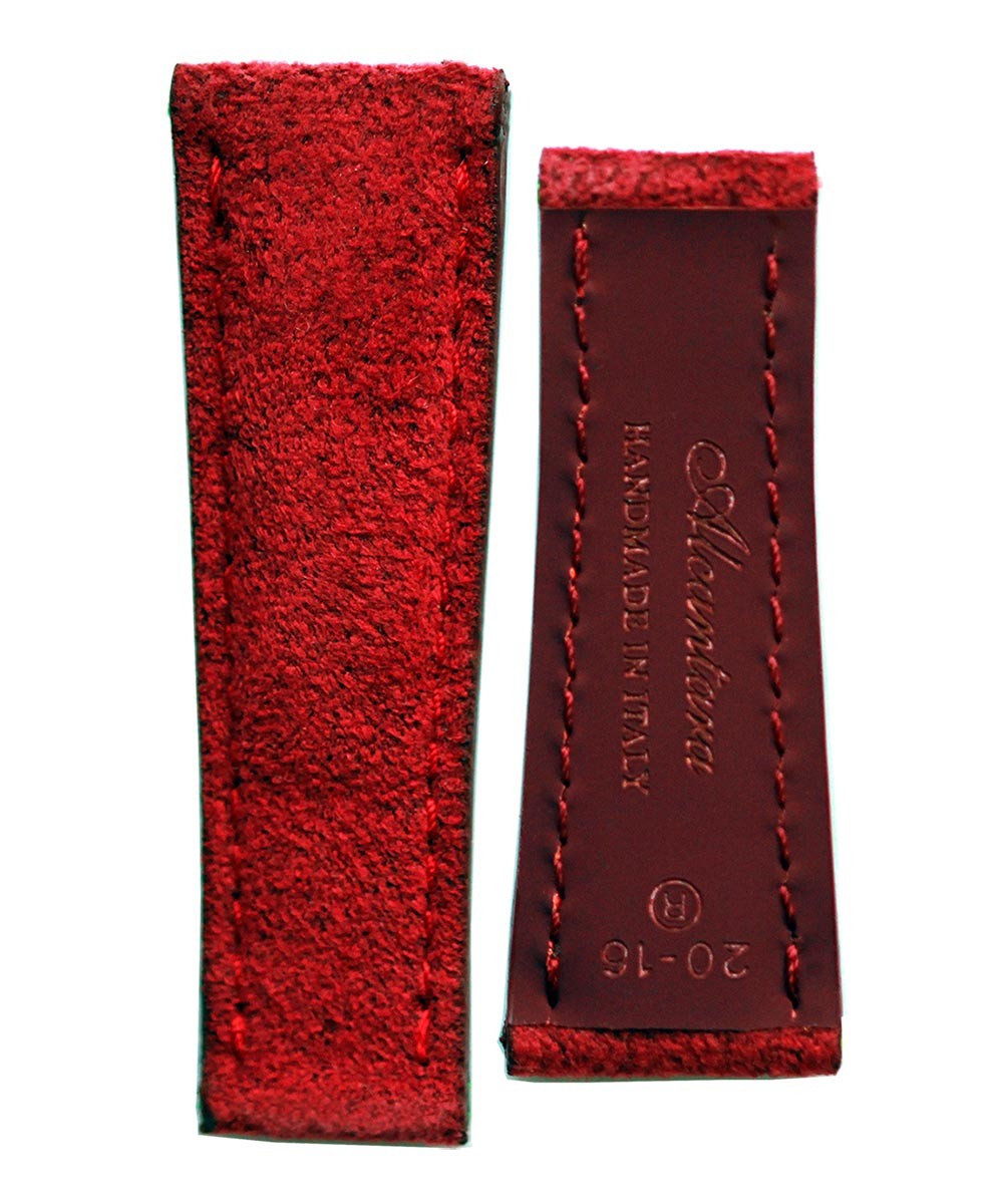 Cherry Alcantara® watch strap 20mm Rolex Daytona style