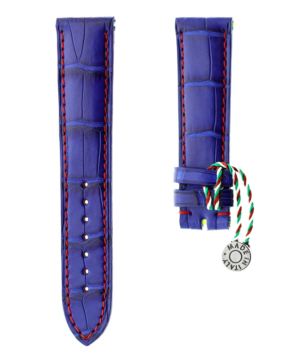 Electric Blue Matte Alligator leather strap 20mm / Red Stitching