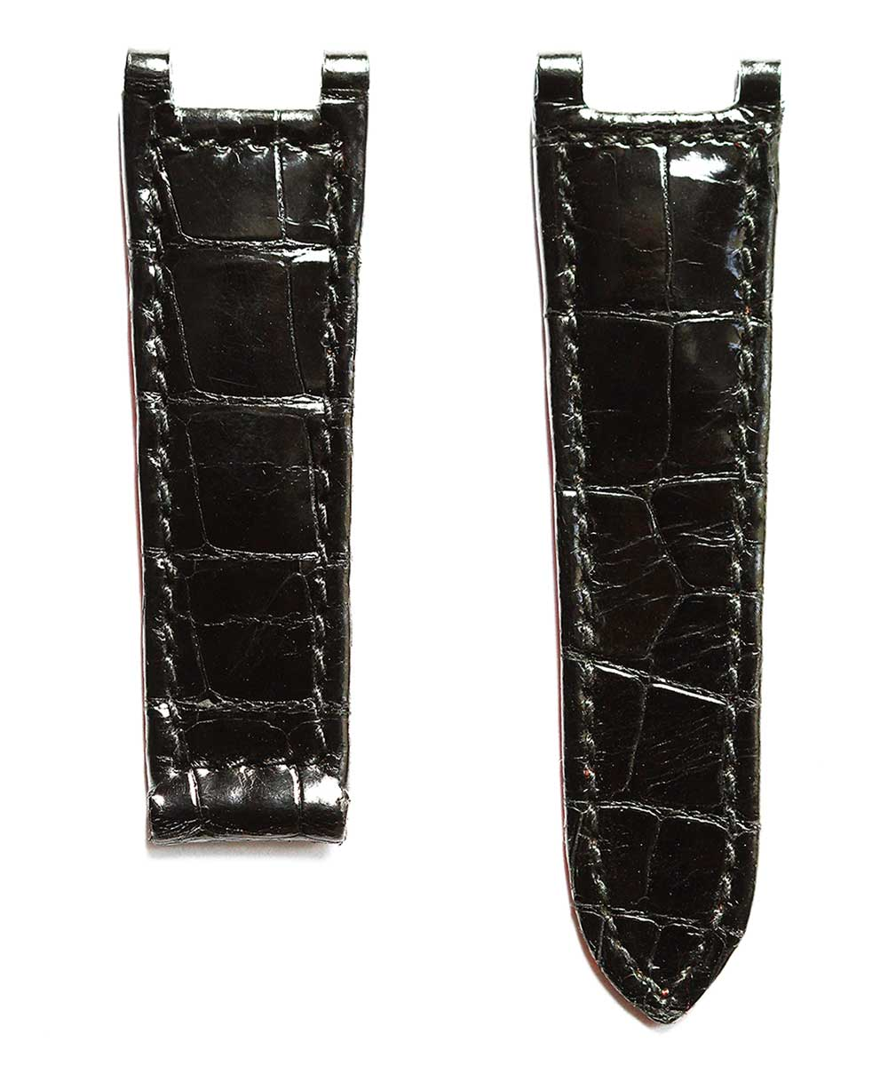 Cartier Pasha style watch strap 20mm in Black shiny Alligator leather