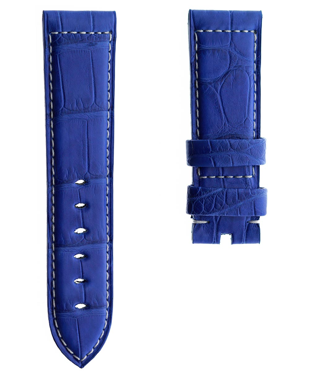 Blue Electric Alligator leather strap 24mm for Panerai