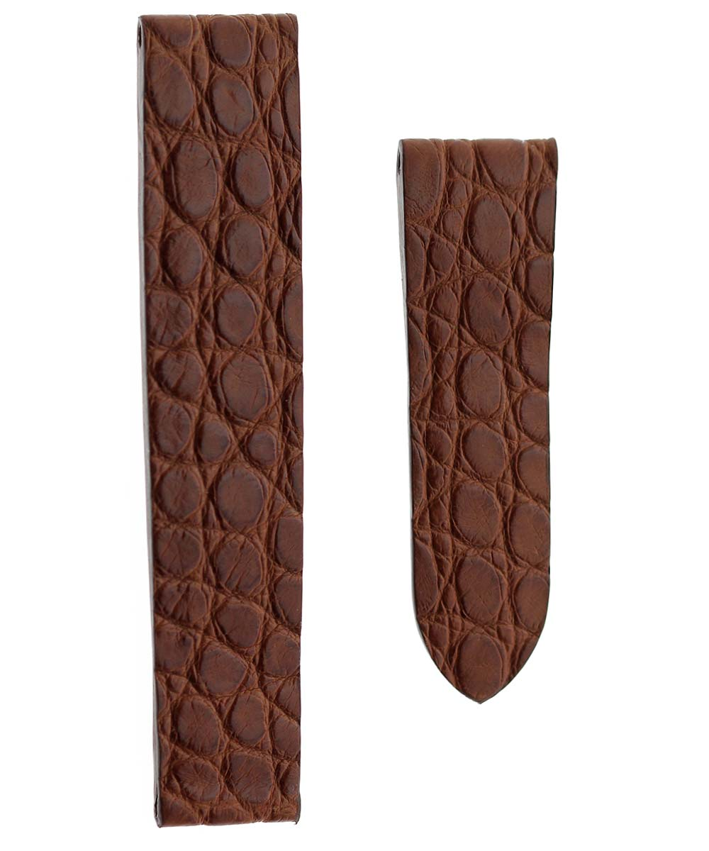 Watch strap 16mm in Brown Alligator for Cartier Tank style clasp