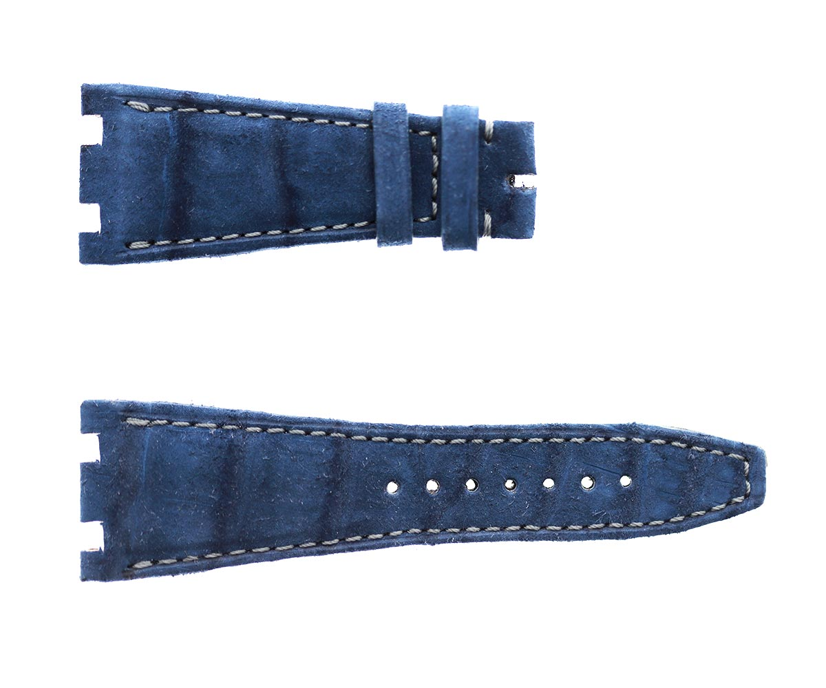 Audemars Piguet Royal Oak Offshore style watch strap 28mm in Ocean Blue Suede-touch Alligator Nubuck leather