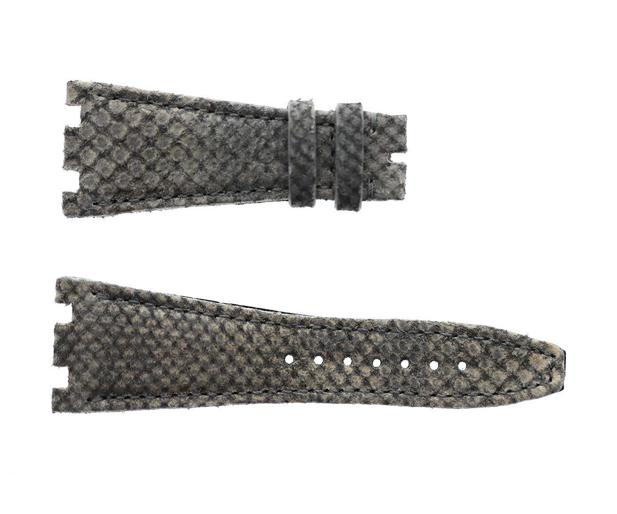 Audemars Piguet Royal Oak Offshore style watch strap 28mm in Venezia Grey Suede-touch Karung Snake Exotic leather