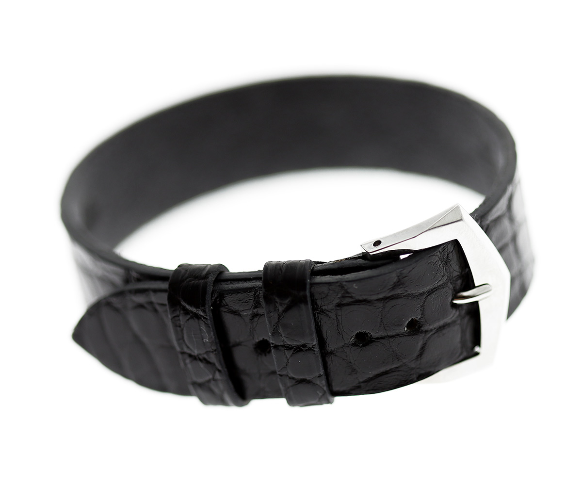 Wrist bracelet in Black Alligator Leather