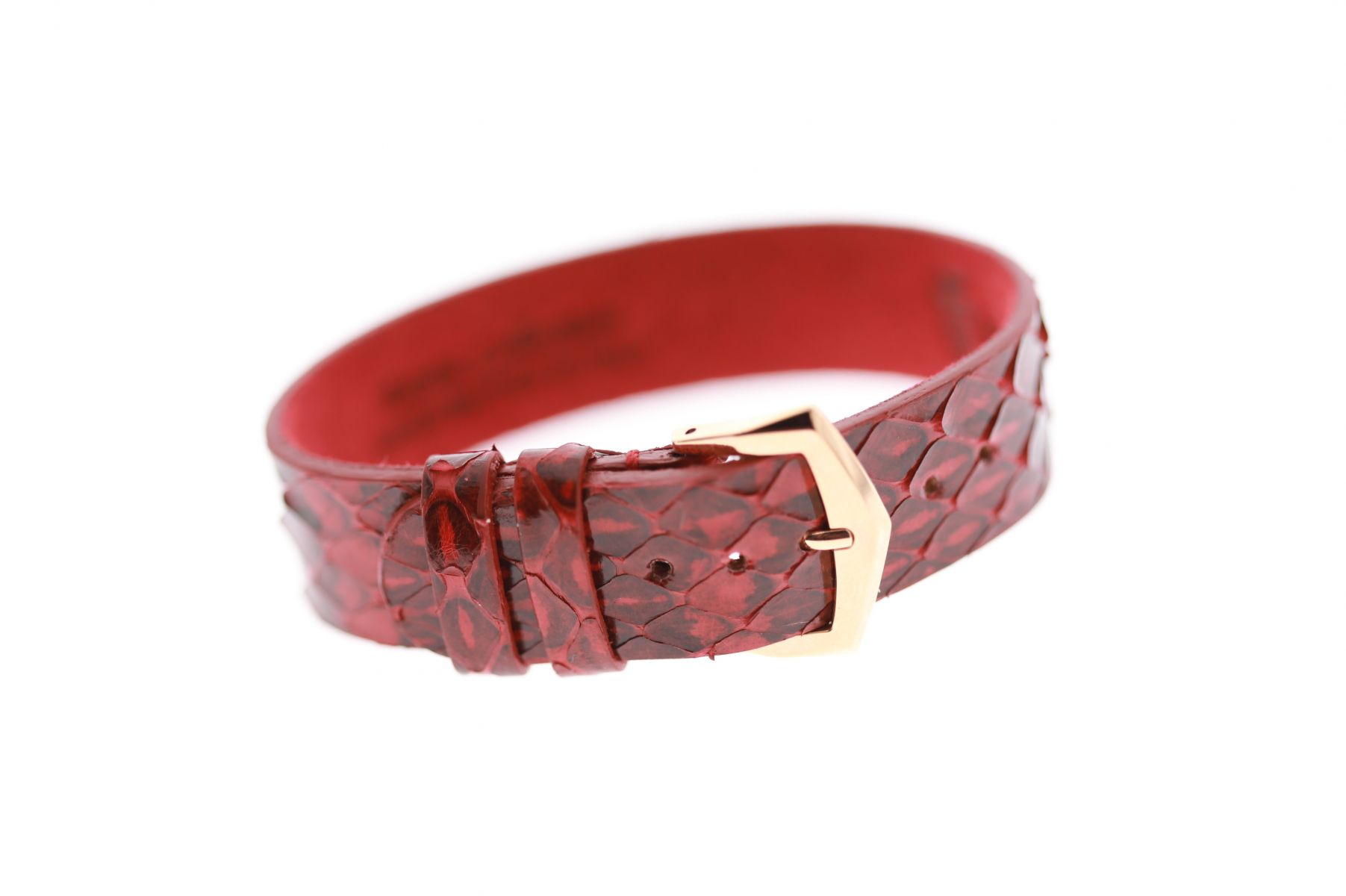 Gloss Python Exotic leather wrist band / ACAPULCO RED