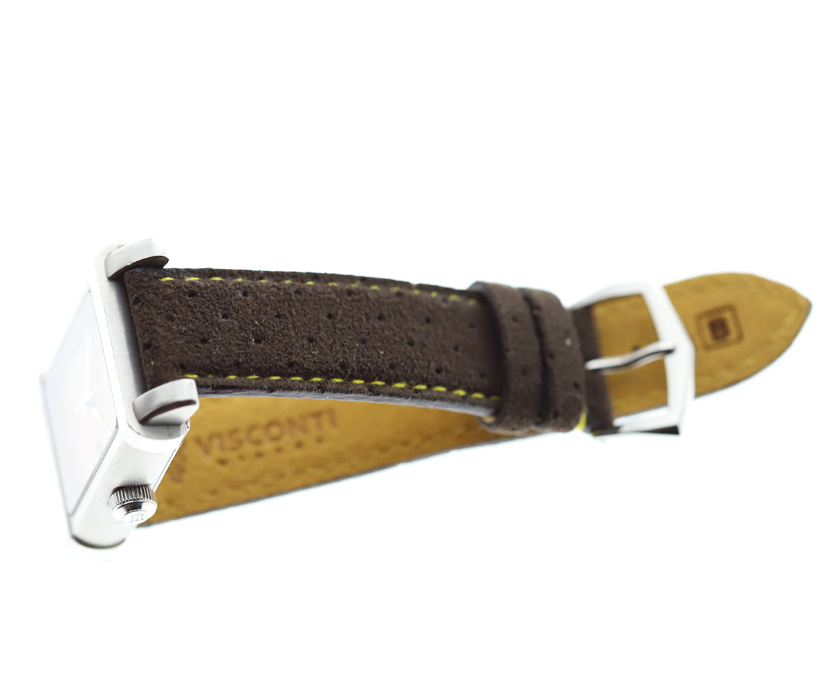 Brown perforated Alcantara® strap 20mm with high grade SS 16mm buckle