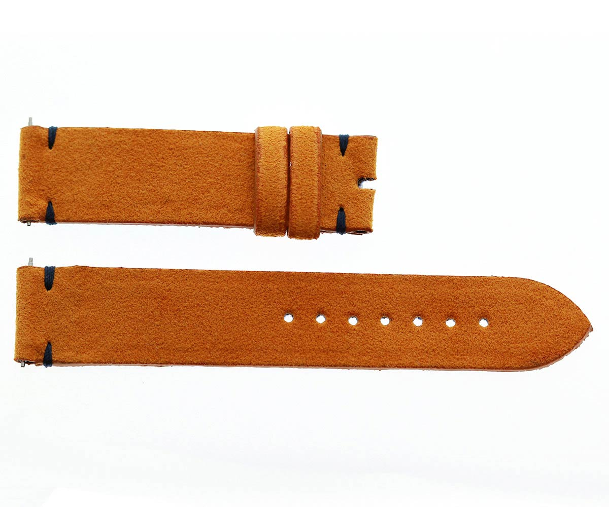 Orange Alcantara® strap 18mm. Quick Release. Denim Lining. Small wrist