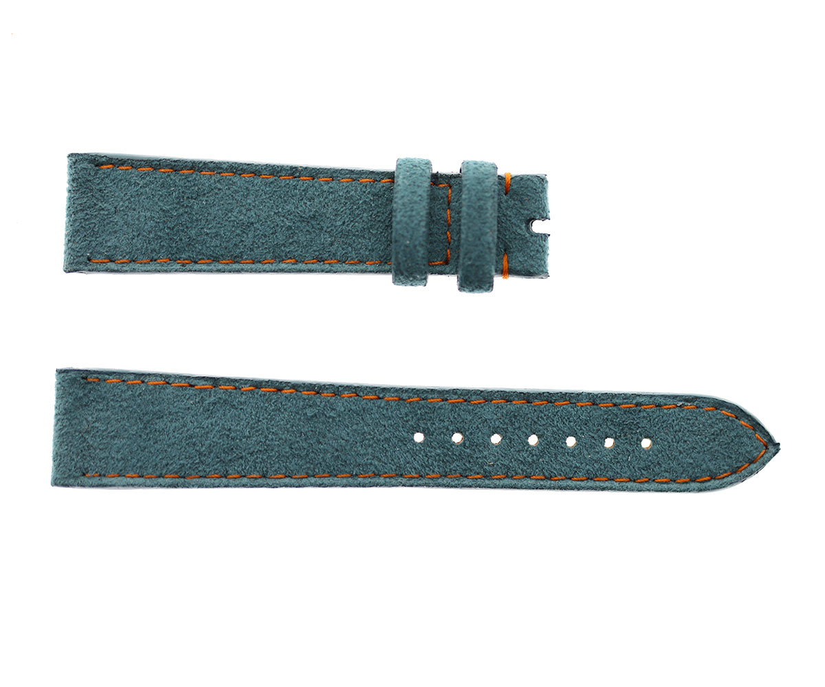 Rolex Precision style Custom Strap 19mm in Indigo Blue Alcantara