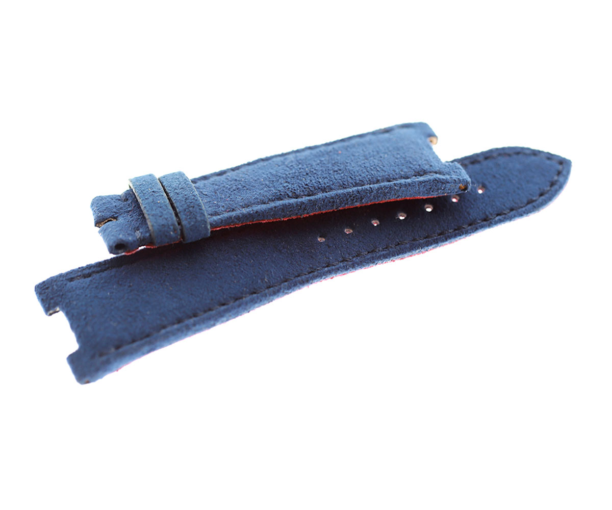 Patek Philippe Nautilus style watch strap 25mm in Blue Italian Alcantara