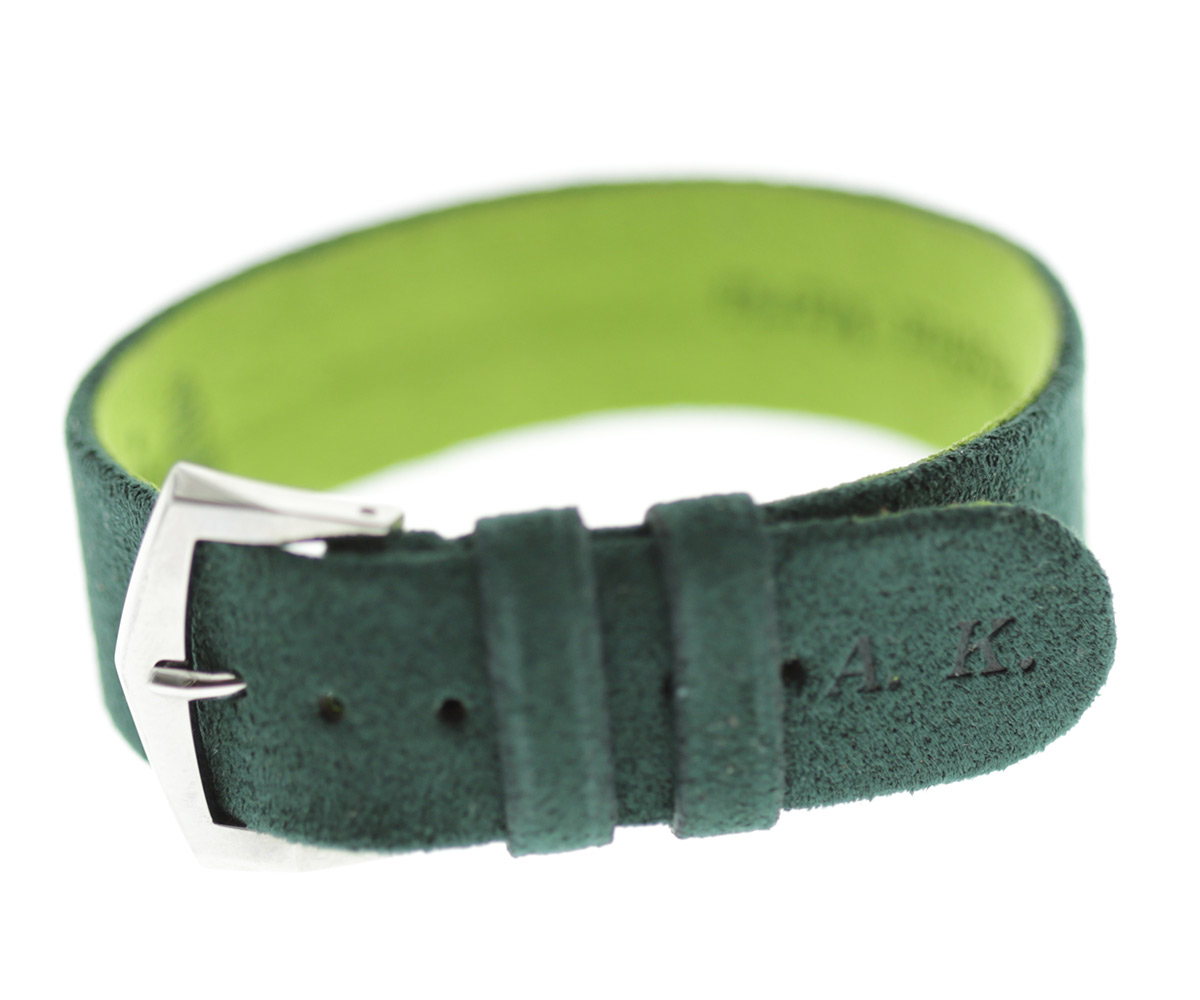 Wrist bracelet in Green Emerald Alcantara® With Your Initials