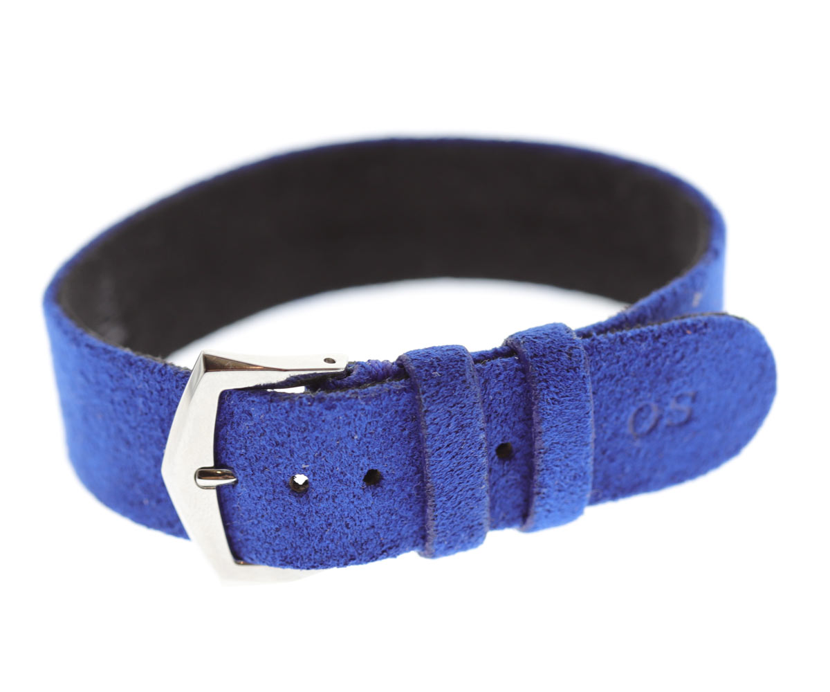 Wrist bracelet in Infanta Blue Alcantara® With Your Initials