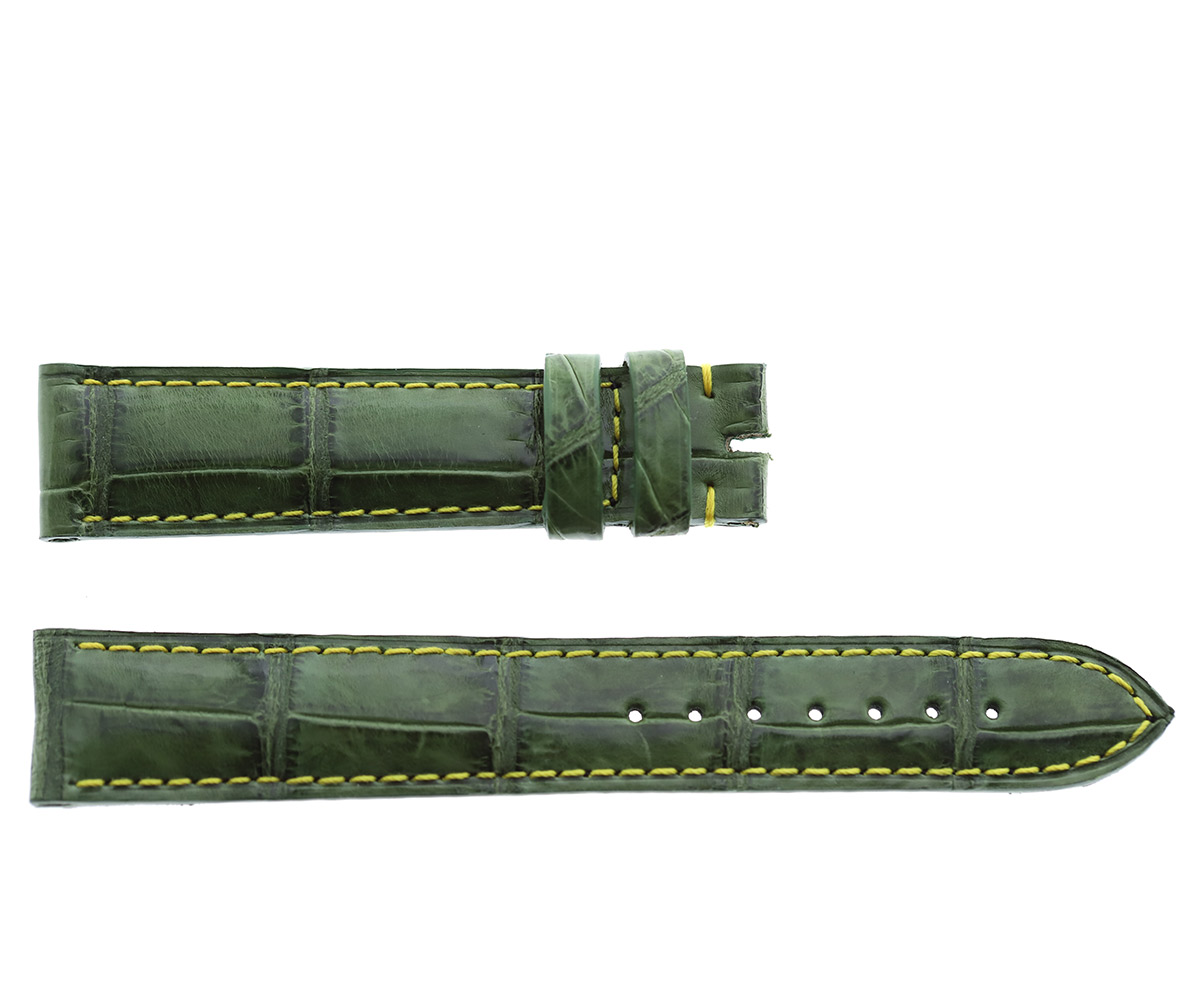 Vintage Green Alligator strap 18mm Jaeger LeCoultre Reverso or General style Timepieces. Side stitching