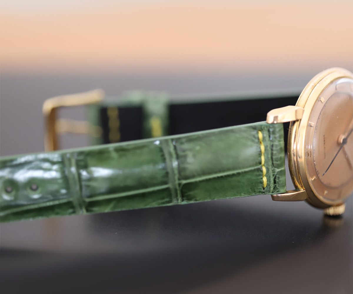 Vintage Green Alligator strap 18mm Jaeger LeCoultre Reverso or General style Timepieces. Travetta stitching