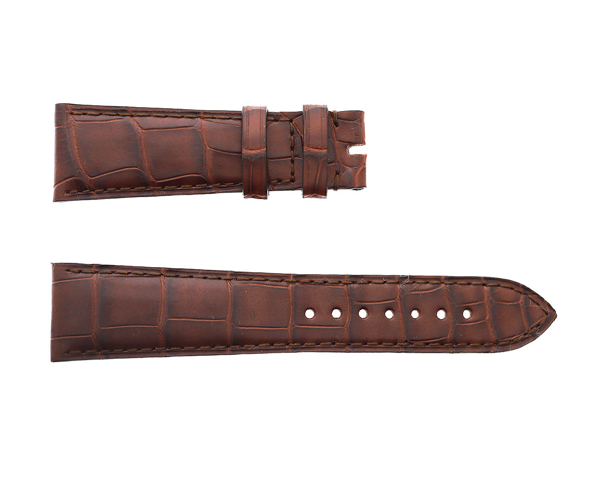 Impermeable Brown Hydro Alligator Leather strap 22mm IWC Portofino. Regular stitching