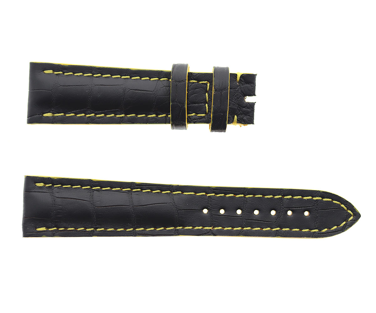 Copy of Black Alligator leather strap 22mm Breitling style. Yellow Stitching
