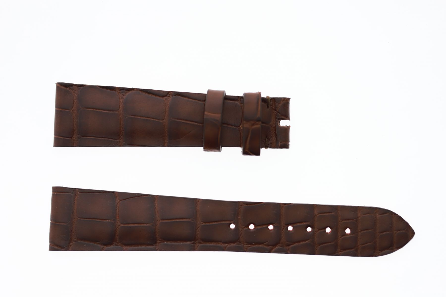 Brown Hydro Alligator leather strap 20mm Rolex Oyster, Patek Philippe style