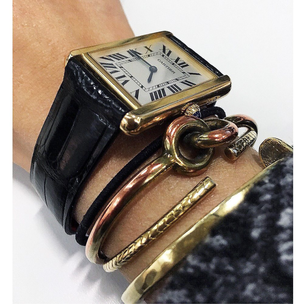 Bespoke Cartier Tank Anglaise style watch strap in Black Alligator leather