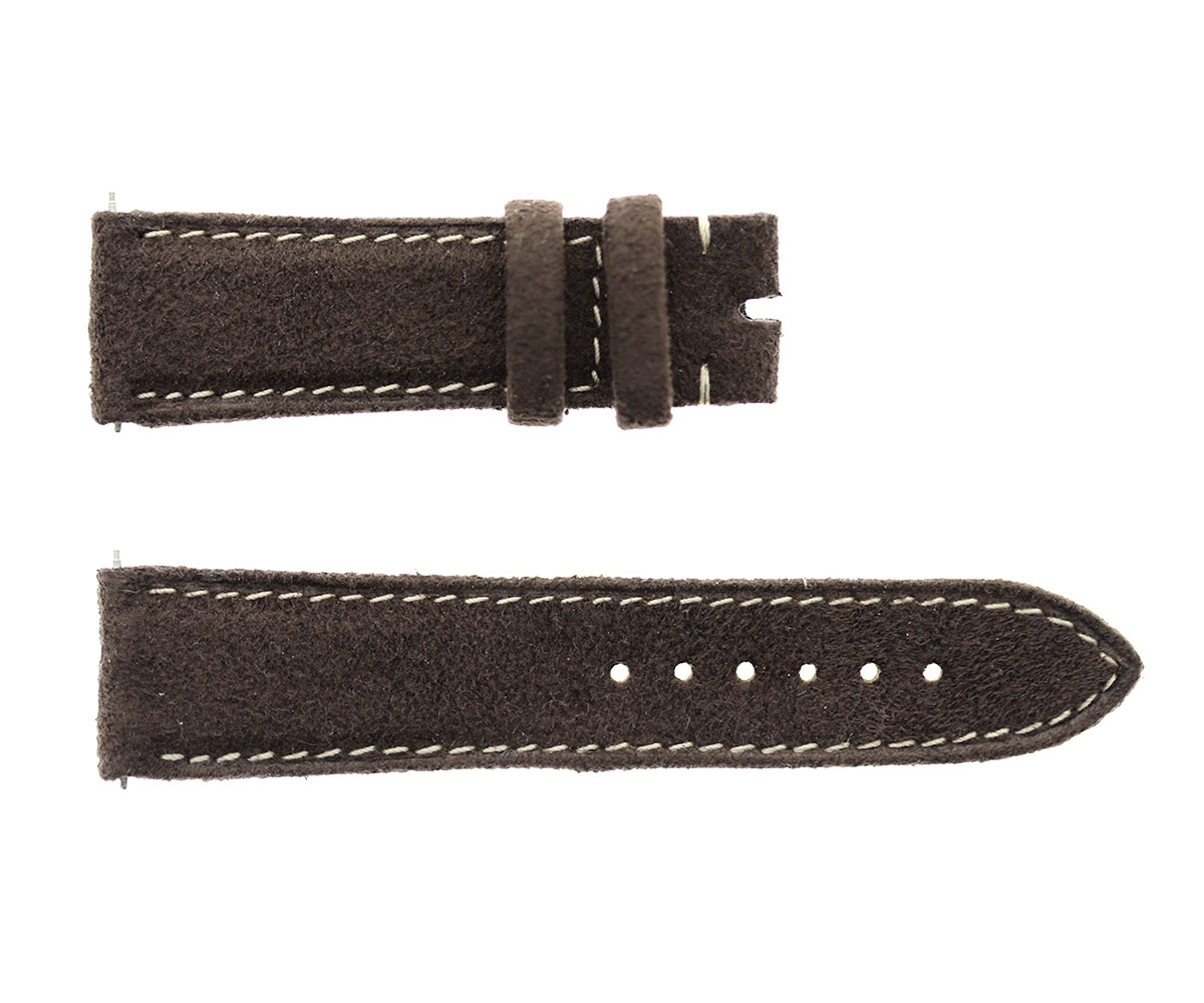 Bespoke Cartier Tank Anglaise style watch strap in Brown Italian Alcantara