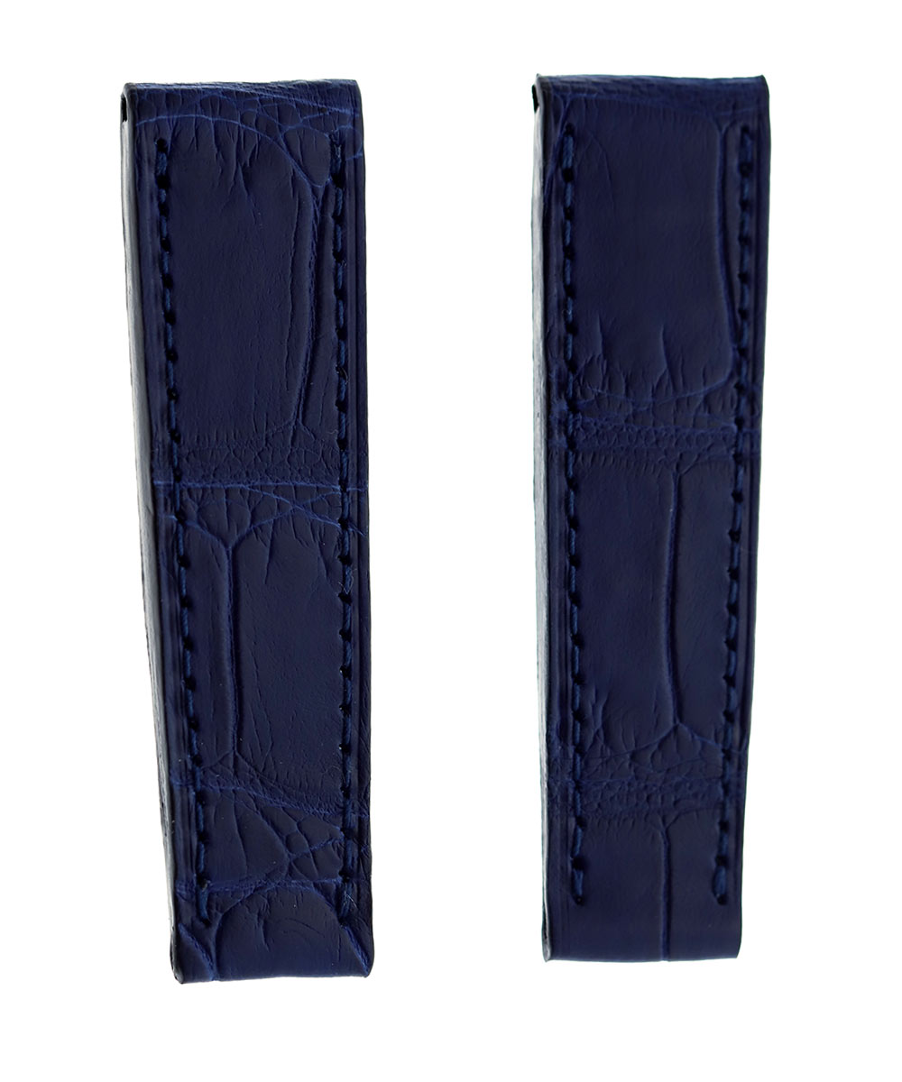 Custom made Rolex Cellini Prince style strap 20mm in Blue Petrol Alligator