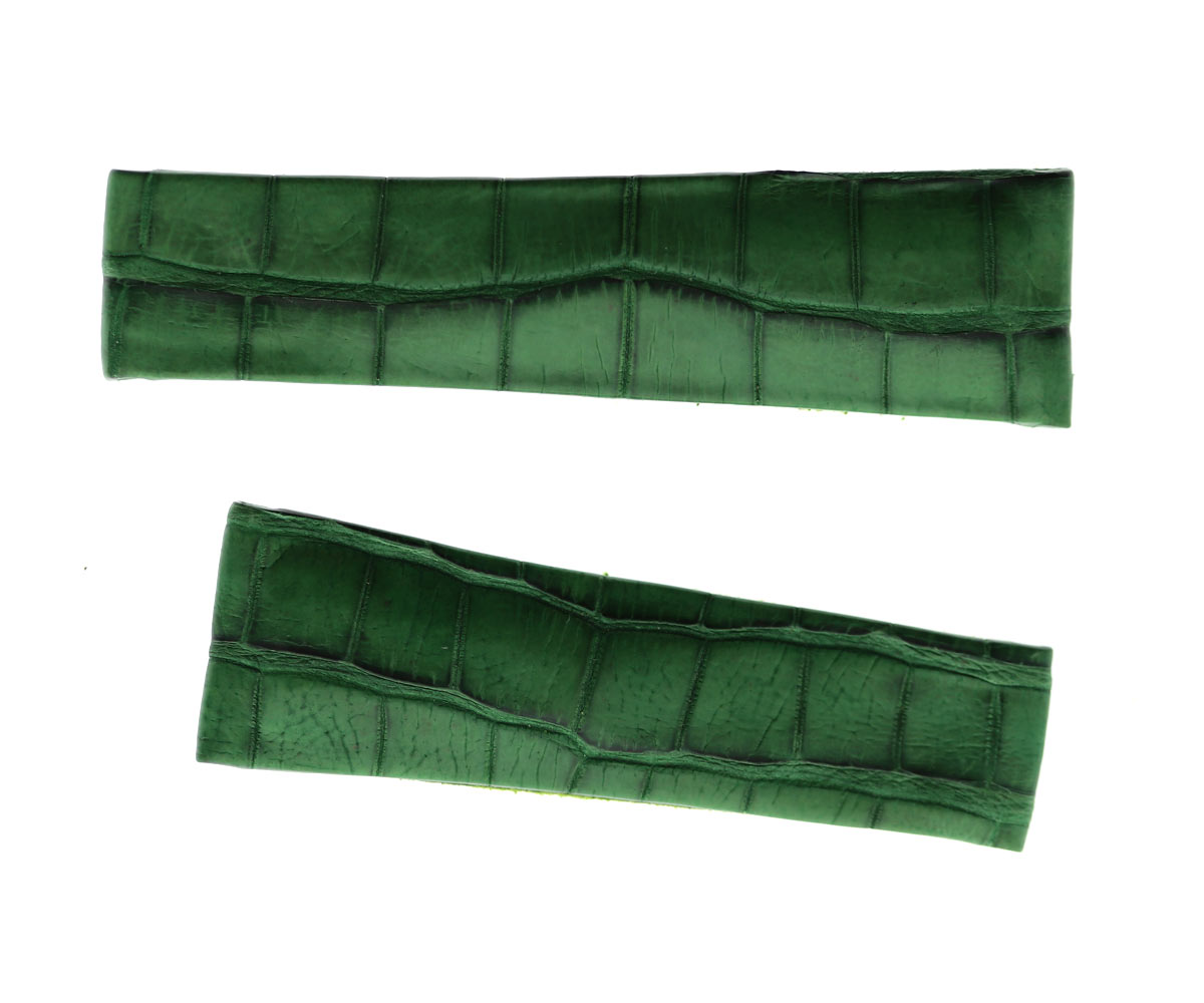 Green Emerald Latirostris Caiman Leather strap 20mm Rolex Daytona style Italian Cut