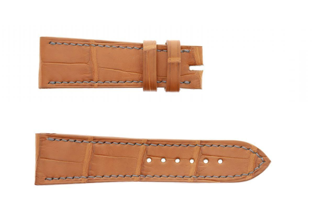 Honey Brown Matte Alligator leather strap 22mm De Bethune style