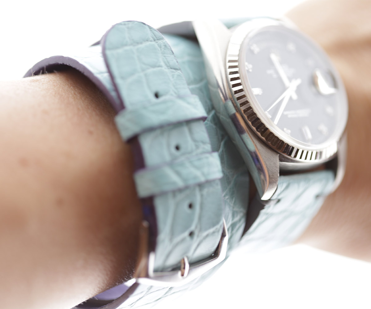 Blue Alligator Set for Lady Rolex Daydate Dayjust: Strap 20mm and Matching Double Turn Bracelet