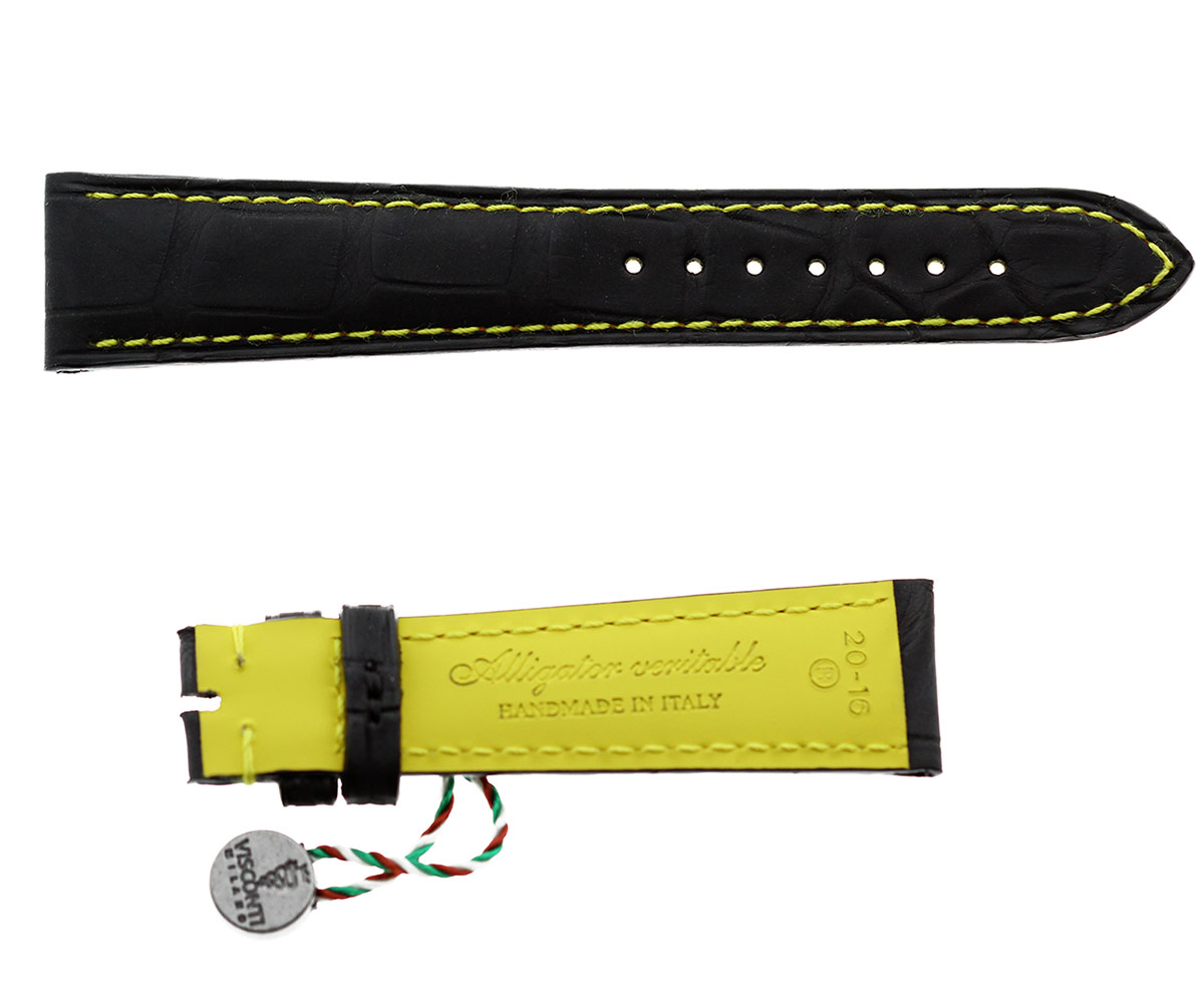 Black Rubberized Alligator leather strap / Yellow Stitching 20mm, 18mm