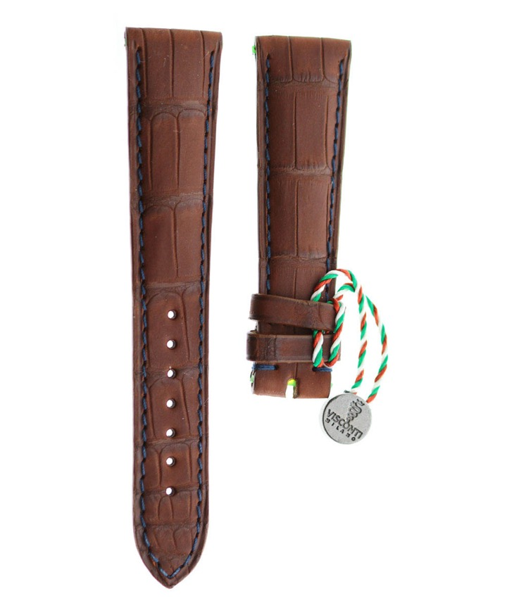 Brown Rubberized Alligator leather strap 20mm, 18mm / Blue stitching