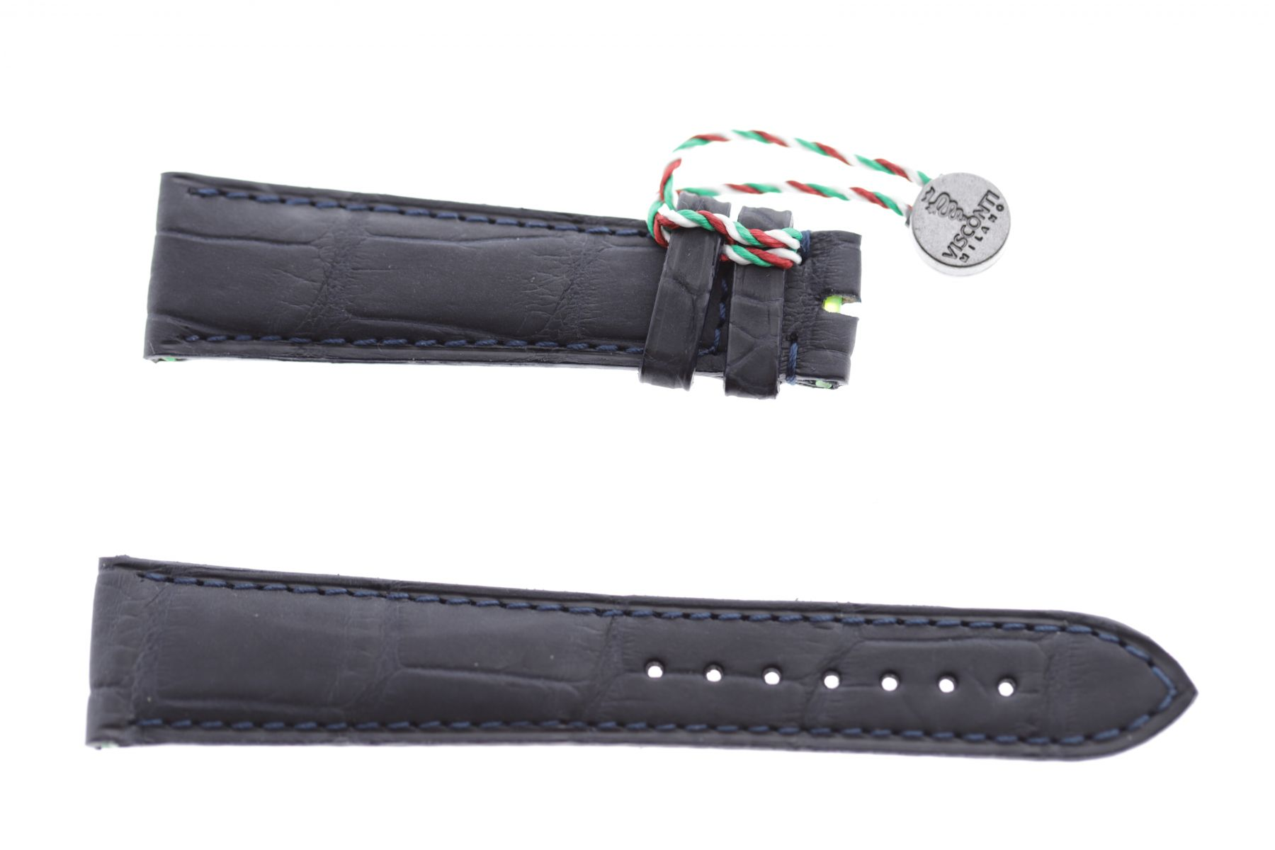 Dark Blue rubberized alligator leather watch strap 20mm, 18mm / Blue stitching