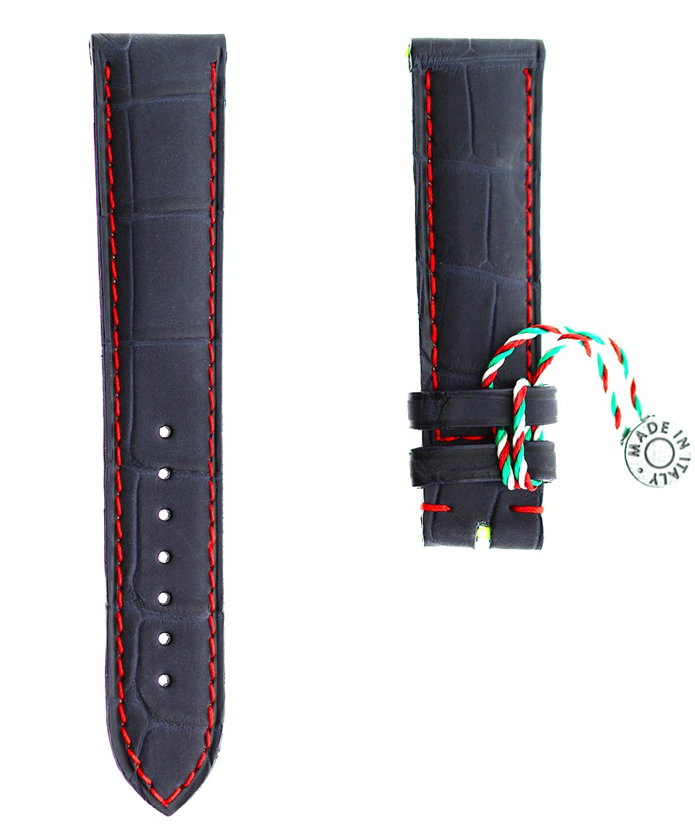 Blue rubberized alligator leather watch strap 20mm, 18mm / Red stitching